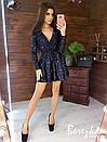 Платье из пайетки на велюре с пышной юбкой, длинным рукавом и верхом на запах 66py412Е, фото 5