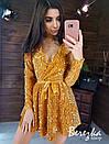 Платье из пайетки на велюре с пышной юбкой, длинным рукавом и верхом на запах 66py412Е, фото 6