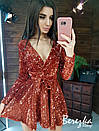 Платье из пайетки на велюре с пышной юбкой, длинным рукавом и верхом на запах 66py412Е, фото 8