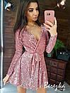 Платье из пайетки на велюре с пышной юбкой, длинным рукавом и верхом на запах 66py412Е, фото 9