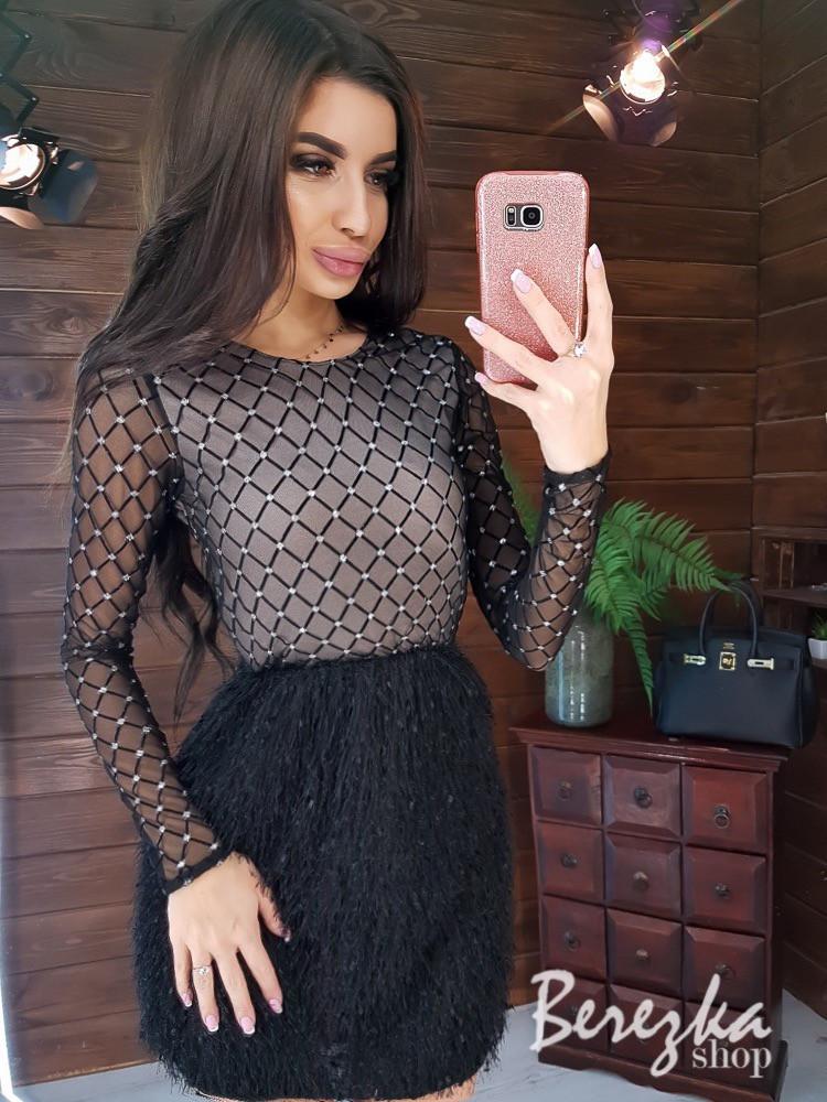 Платье с верхом из сетки с длинным рукавом и юбкой травкой 66py415Е