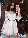 Пышной платье из сетки на подкладе с принтом звезды и длинным рукавом 66py419Q, фото 3