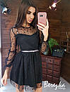 Пышной платье из сетки на подкладе с принтом звезды и длинным рукавом 66py419Q, фото 5