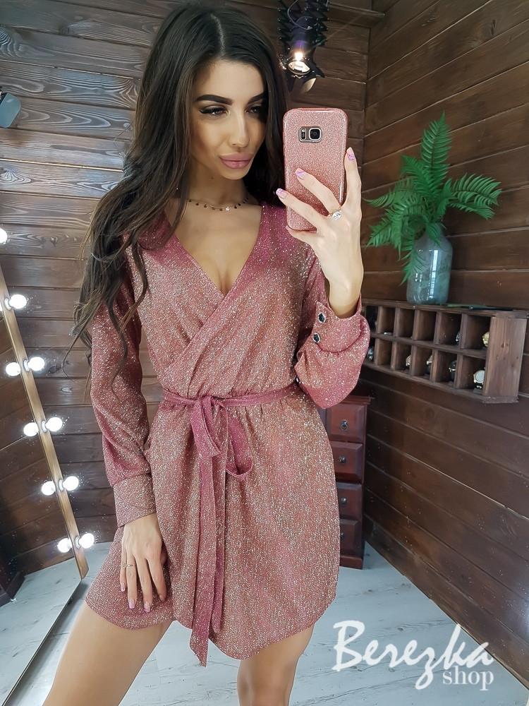 Платье из люрекса с верхом на запах, длинным рукавом и поясом 66py420Q
