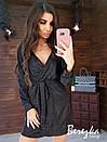 Платье из люрекса с верхом на запах, длинным рукавом и поясом 66py420Q, фото 3