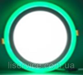 Светильник точечный Ecostrum LED з підсвіткою 6+3W вбудоване коло, моно синий