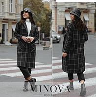 Длинное пальто прямого кроя с накладными карманами по бокам ( графит ) р: универсальный 44-50