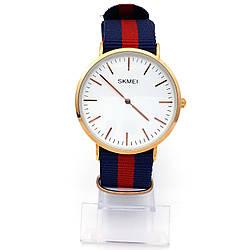 Часы Skmei на тканевом сине-красном ремешке, длина 15,5-23см, циферблат 40мм