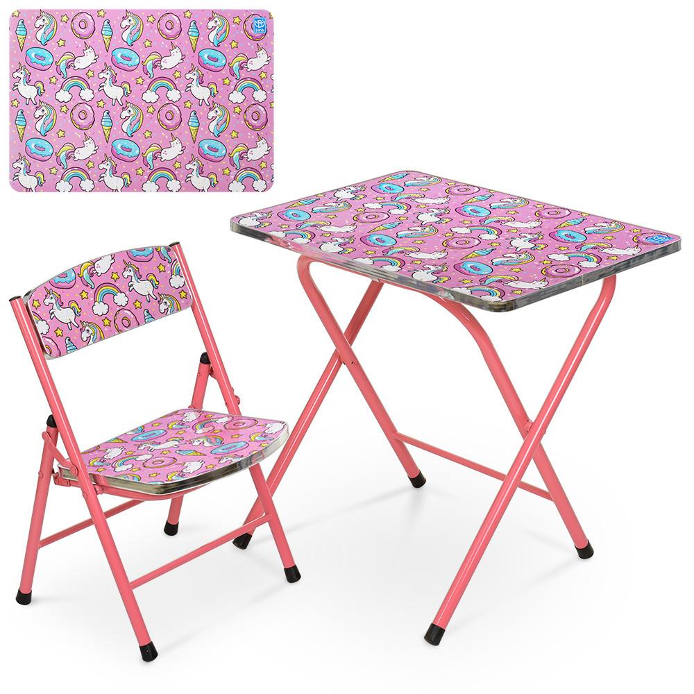 Стул складной со стульчиком Bambi A19-UNI для девочки единорожки