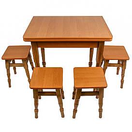 """Раскладной обеденный стол с табуретками """"Ольха"""""""