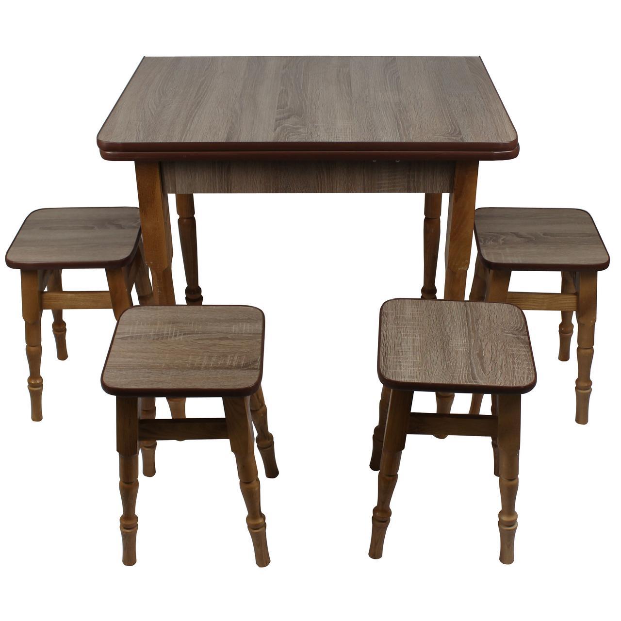 """Раскладной обеденный стол с табуретками """"Дуб сонома трюфель"""""""