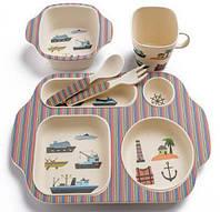 """Набор детской посуды из бамбукового волокна с сюжетом, 5 шт """"Морской сюжет"""" (уценка)"""