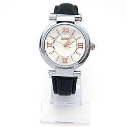 Часы Skmei под серебро, черный ремешок под кожу, длина 17-21см, циферблат 35мм