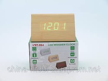 VST864 годинники настільні цифрові з будильником, бежеві з зеленими цифрами