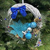 Рождественский венок в синих тонах, фото 1