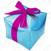 """Шар куб """"Подарок"""". Цвет голубой. Ширина ребра 33 см."""