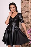 Элегантное платье из экокожи с юбкой-солнце (XS, S, M, L, XL) разные цвета