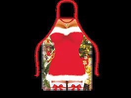 Прикольный фартук сексуальной Снегурочки в красном