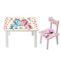 Столик со стульчиком детский для девочки Bambi BSM2K-19 с единорогом