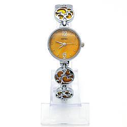 Часы KIMIO Серебристые с желтым циферблатом, длина 20см, циферблат 23мм