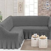 Чехол на угловой диван Серый