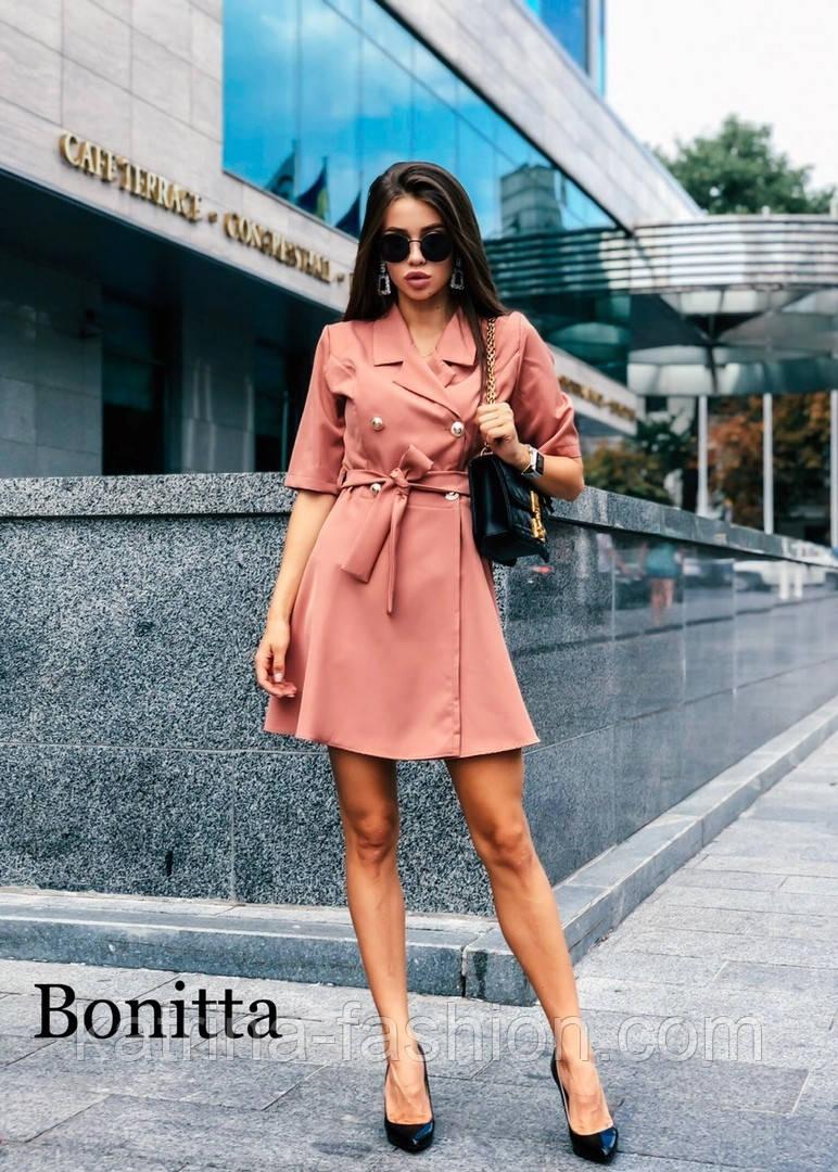 Женское красивое платье-пиджак с поясом (3 цвета)