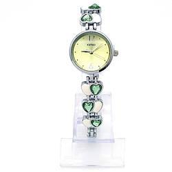 Часы KIMIO под серебро, браслет в сердечки с зелеными камнями, длина 21см, циферблат 23мм