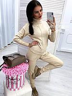 Вязаный спортивный костюм кашемир с двойным высоким горлом в стиле спорт шик