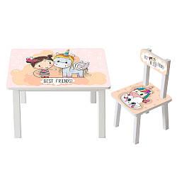 Столик со стульчиком для учебы Bambi BSM2K-18 девочка и единорожка