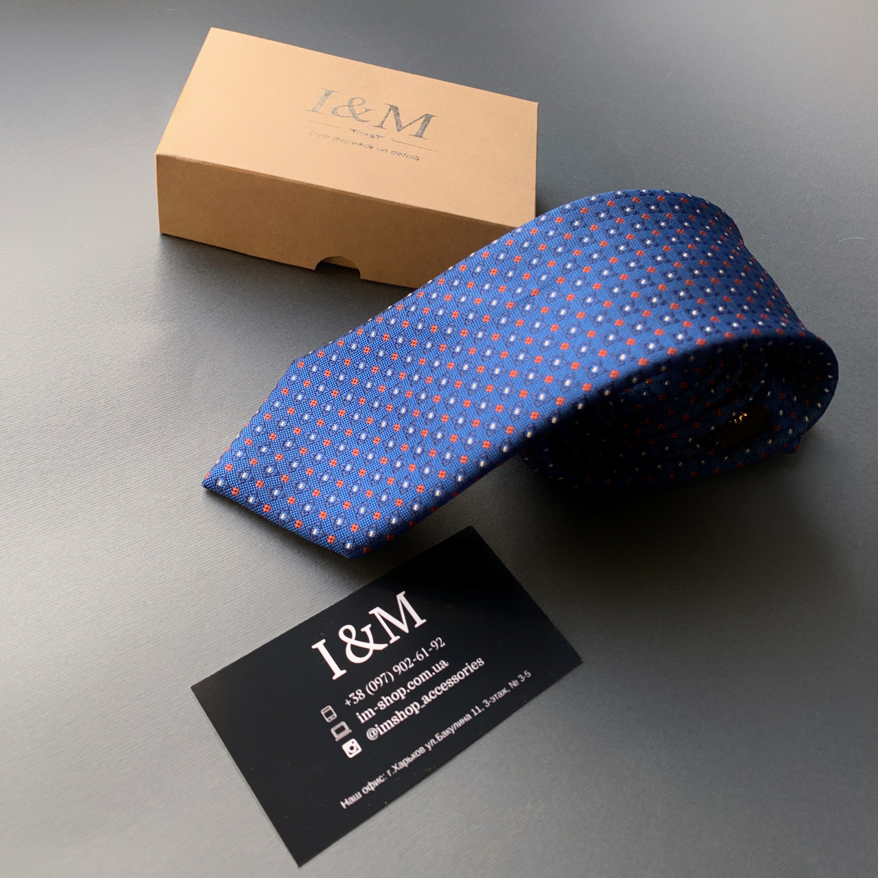 Краватку I&M Craft синій в точку (020353)