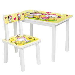 Столик со стульчиком для учебы желтые котики Bambi BSM2K-24