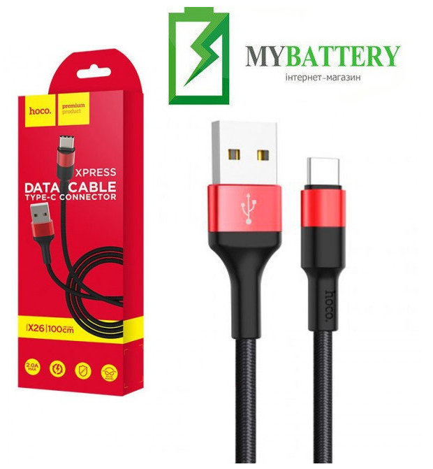 USB кабель Hoco X26 Xpress Charging Type-C красно-черный