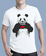 """Мужская летняя футболка с принтом """"Панда с сердцем"""". Качество - премиум (Европа) 100% хлопок, белая"""