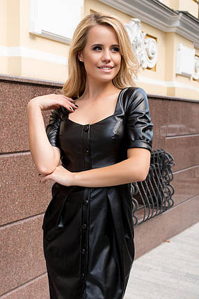 Элегантное платье-футляр из экокожи (S, M, L) черное, фото 2