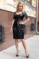 Элегантное платье-футляр из экокожи (S, M, L) черное