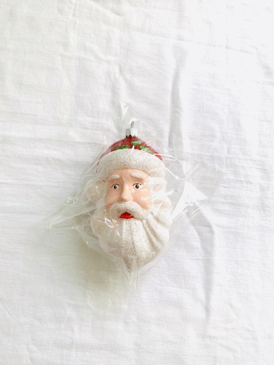 Игрушка новогодняя дед мороз лицо 1 штука 14 см