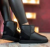 Угги мини женские кожаные натуральные мех овчины стильные зимние UGG Classic II Mini Black