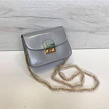 Стильный мини клатч на цепочке в стиле Фурла арт. 0154 Серебристый