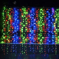 Штора 3х1 м 120 led черный провод, цвет разноцветный - декоративная гирлянда на Новый год