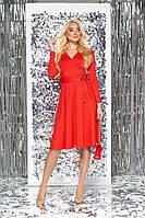 Красивое расклешенное платье-миди красное