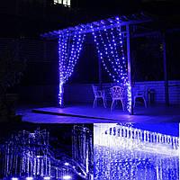 Синяя Гирлянда Свеча Штора 3х1м, 120 led- на черном проводе, синяя, занавес