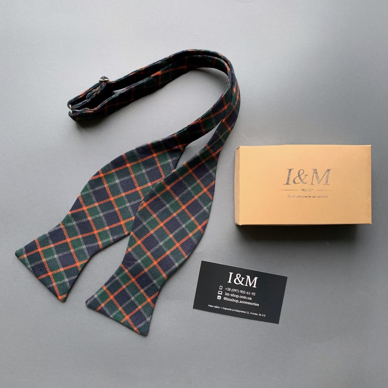 Краватка-метелик I&M Craft самовяз в клітку (010121)