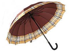 Зонт-трость, полуавтомат, 16 спиц, коричневый/клетка