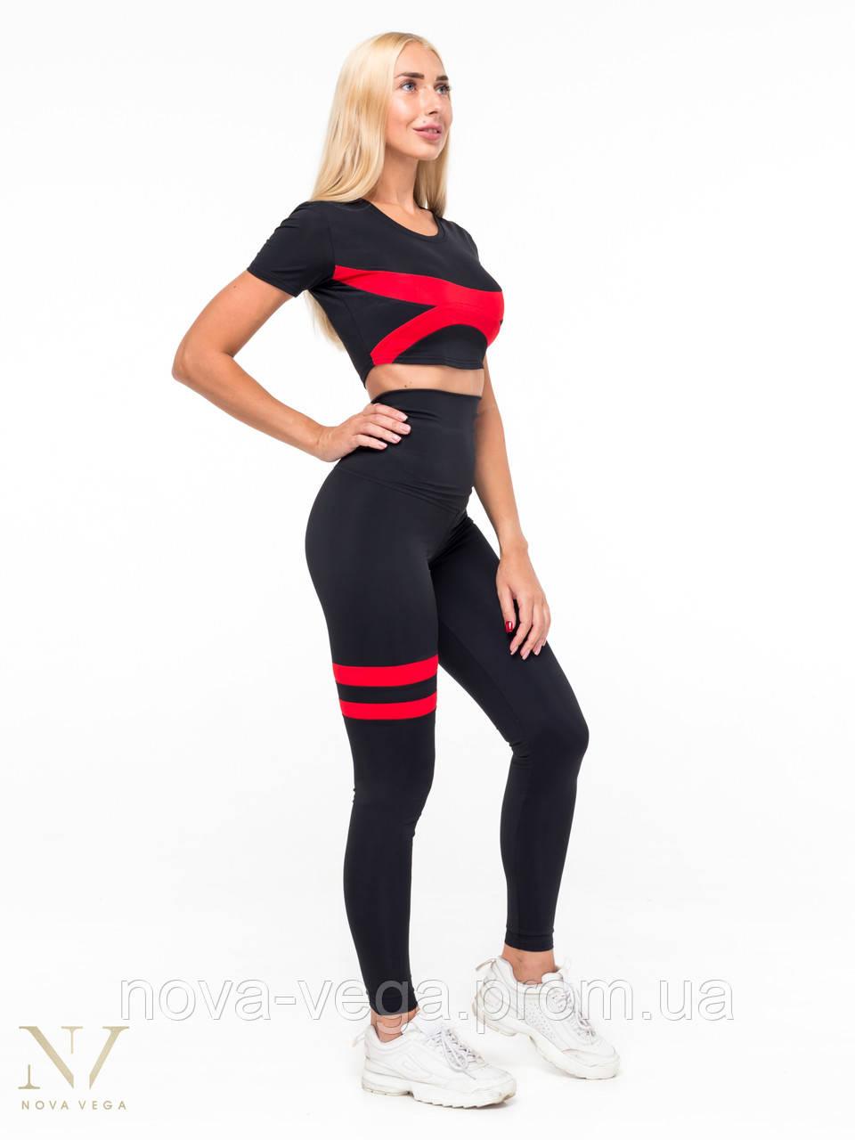 Тренировочные Женские Лосины Nova Vega Adel Black&Red Высокий Пояс