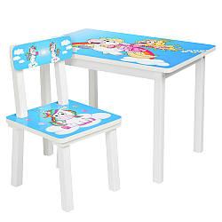 Стол и стульчик детский принцесса и единорог Bambi BSM2K-35 голубой