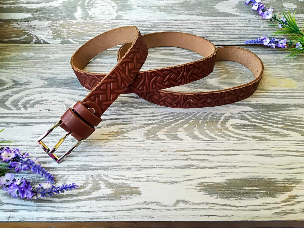 Шкіряний ремінь коричневий кельтський вузол (вузький)