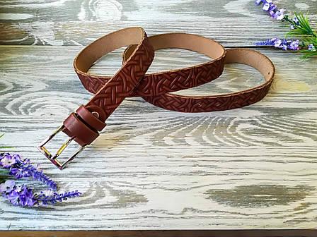 Шкіряний ремінь коричневий кельтський вузол (вузький), фото 2