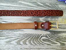 Шкіряний ремінь коричневий кельтський вузол (вузький), фото 3