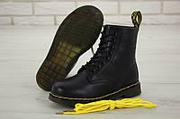 Ботинки зимние Dr. Martens, черные, в стиле Доктор Мартинс, кожа, внутри - мех, код KD-11966