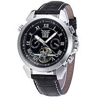 Механические часы с автоподзаводом Jaragar (silver-black) - гарантия 12 месяцев
